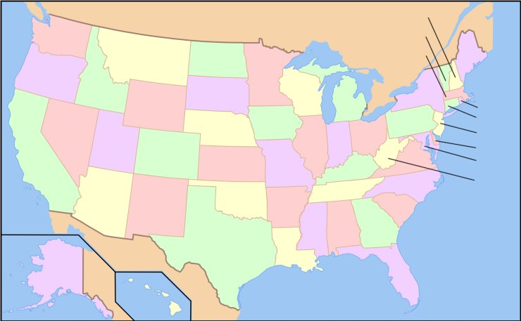 States Of The USA Quiz An Online Game - Us maps quiz