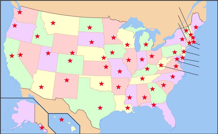 Maps Usa Map States And Capitals - Usa map with state
